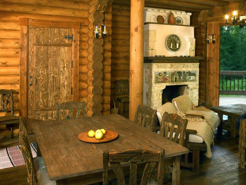 дизайн интерьера внутри деревенского дома фото